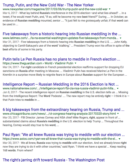 "Just Google ""Russian meddling"" and enjoy millions of hits."